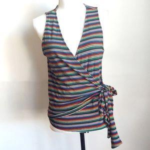 Lush Wrap around sleeveless shirt, striped